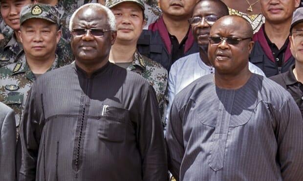 Sierra Leone's president Ernest Bai Koroma, left, with vice president Samuel Sam-Sumana