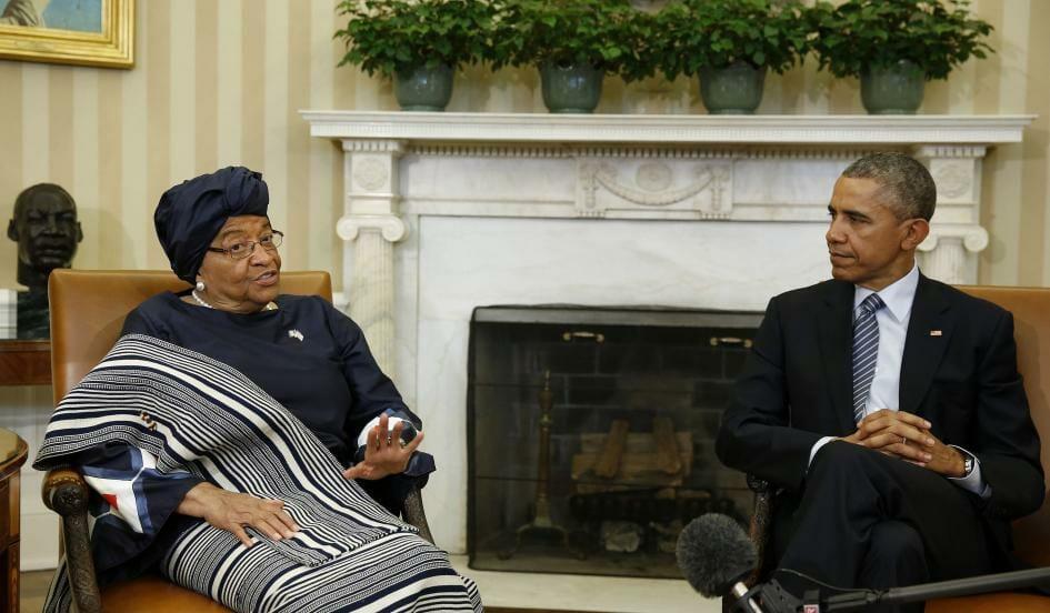 Liberian President Ellen Johnson Sirleaf meets with President Obama at the White House