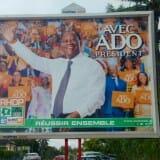 Incumbent president Alassane Ouattara's campaign billboard