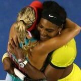 Serena hugs Kerber