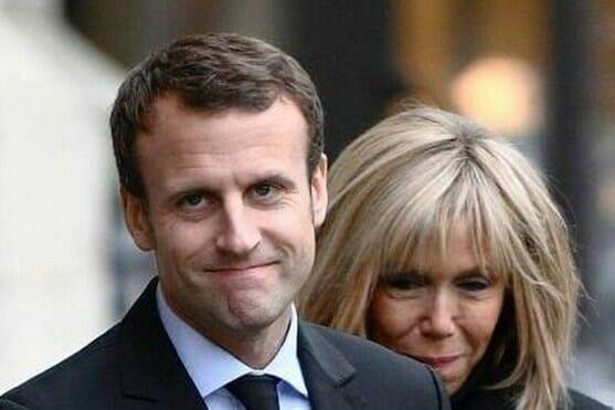 French president Emmanuel Macron, 40, with wife Brigitte Macron, 64.