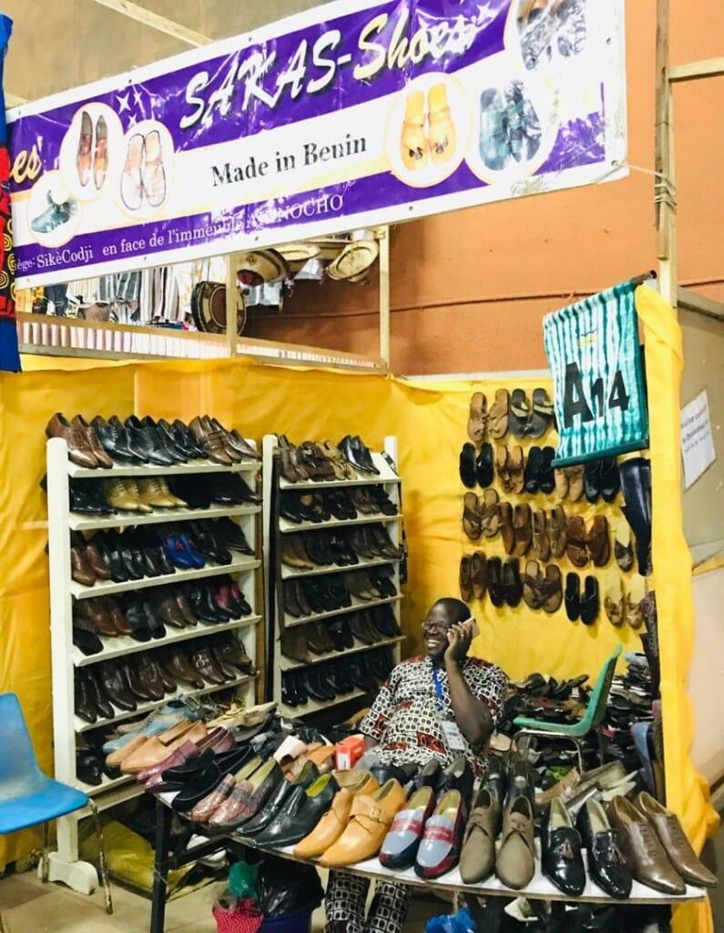 Benin's shoemaker Sakaliou Salifou in his shop at SIAO 2018