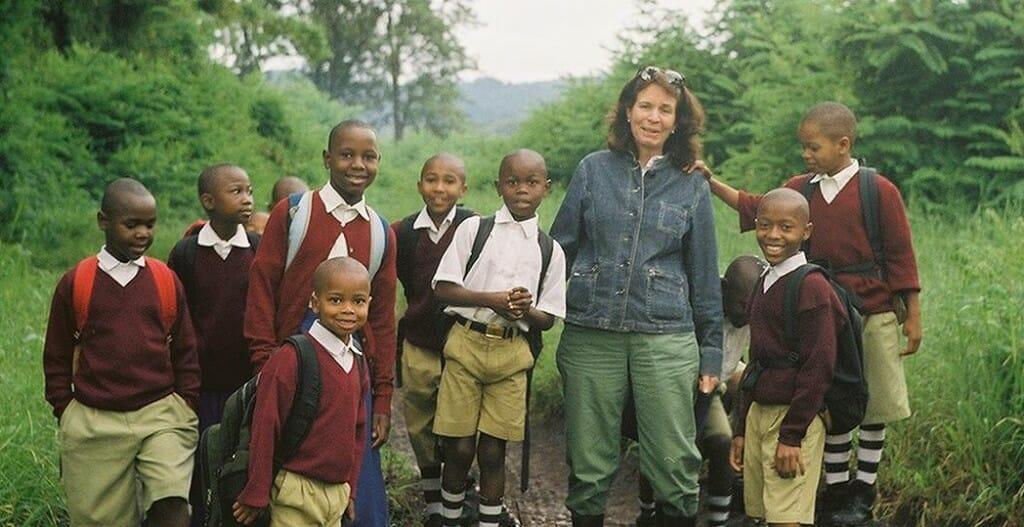 India Howell walks some of her children to school